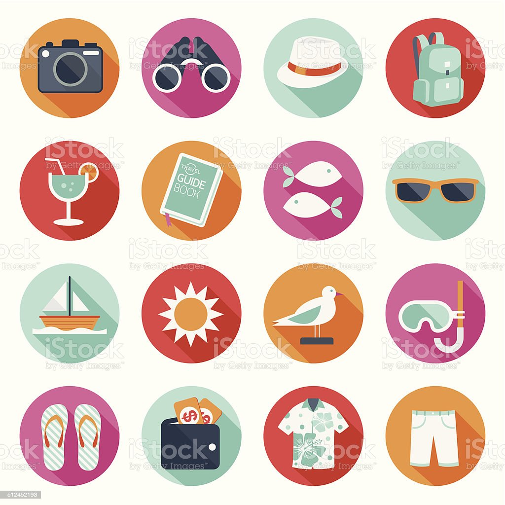 Flat icons set : Summer, Trips & Travel vector art illustration