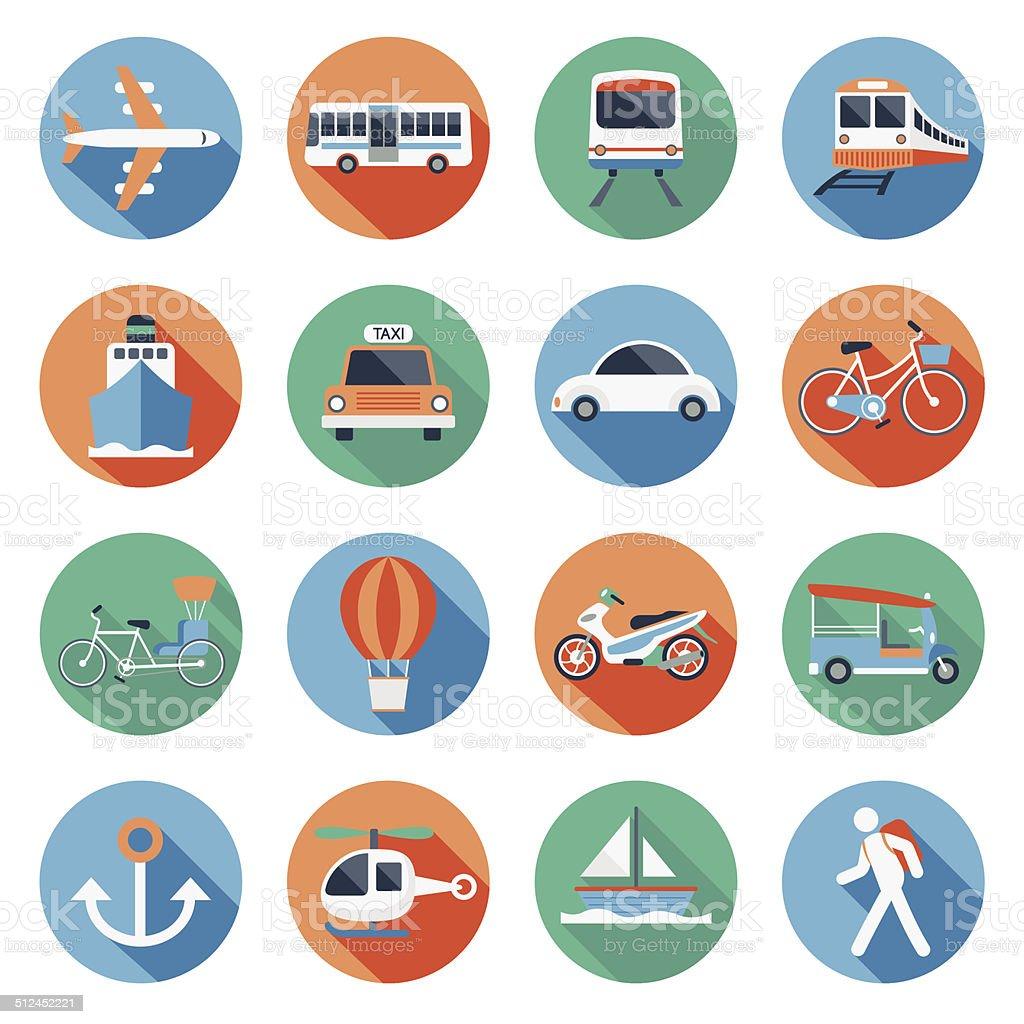Flat icons set : Transportation, Trips & Travel