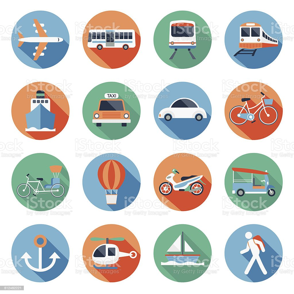 Flat icons set : Transportation, Trips & Travel vector art illustration