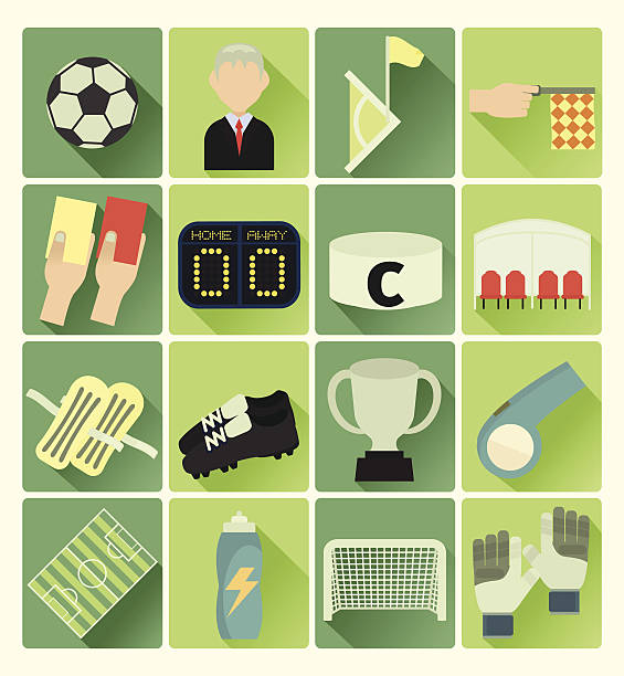 Flache Symbole Fußball – Vektorgrafik