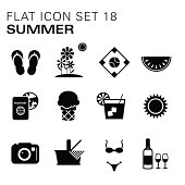 A vector illustrations of summer icons in black. There are separate layers for easier editing.