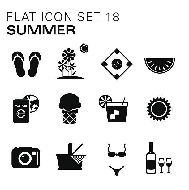flache symbole sommer - glasblumen stock-grafiken, -clipart, -cartoons und -symbole