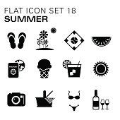 Flat icons Summer