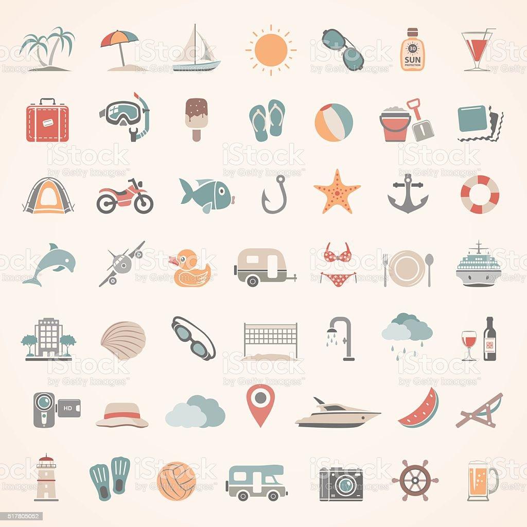 Flat Icons - Summer vector art illustration