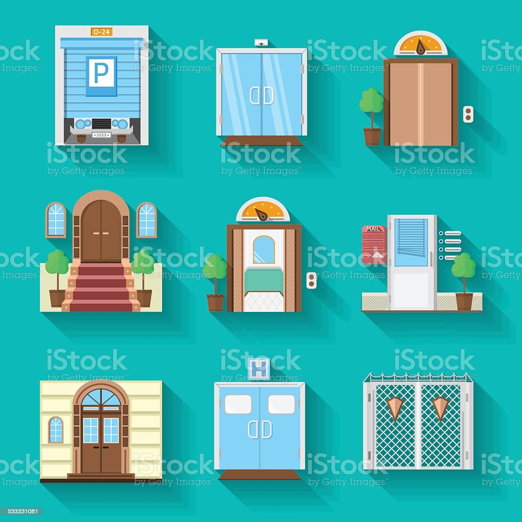 Flat icons vector collection for entrance doors vector art illustration