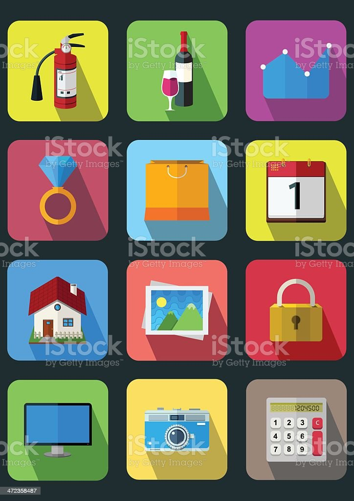 flat icons royalty-free flat icons stock vector art & more images of bag