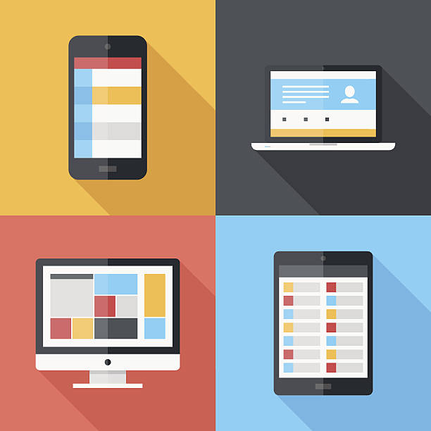 Flat icons Vector illustration of application menu template on different electronic devices desktop pc stock illustrations