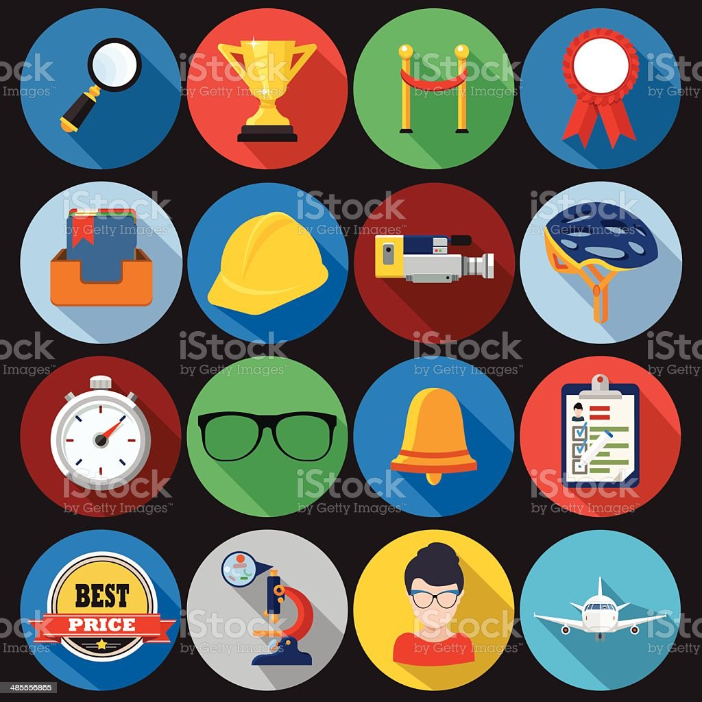 Flat Icons with long shadow set 3 vector art illustration