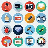 Flat Icons with long shadow, set 8