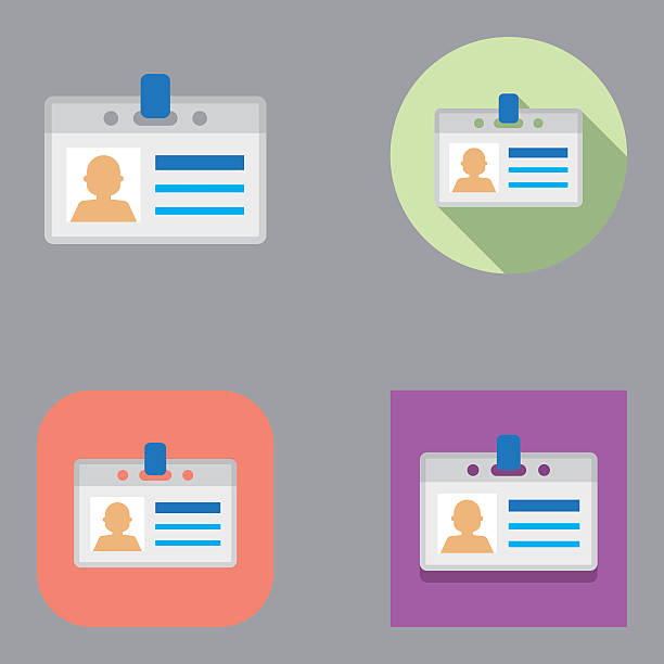 Flat ID Card icons   Kalaful series Flat id card icon set over different background shapes and colors. security pass stock illustrations