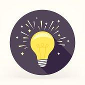 Flat & Long Shadow Light Bulb Icon