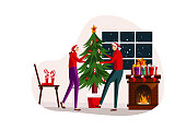 flat illustration Christmas theme for any website or landing page