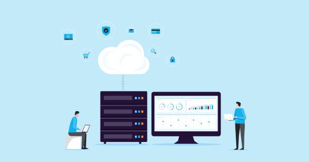 stockillustraties, clipart, cartoons en iconen met vlakke afbeelding ontwerp concept technologie cloud opslag verbinding met business technologie wen hosting en servers on line service - netwerkserver