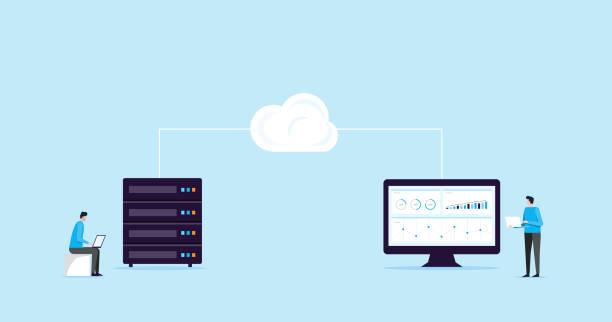 flache Abbildung Design Konzept Technologie Cloud Speicherverbindung mit Business Technologie Wen hosting und Server online-service – Vektorgrafik