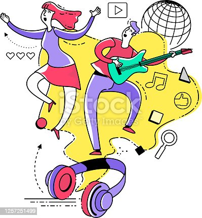 istock Flat illustration design for presentation, web, landing page, infographics: man and woman dancing and singing. Dance. Headphones with music on the Internet. 1257251499