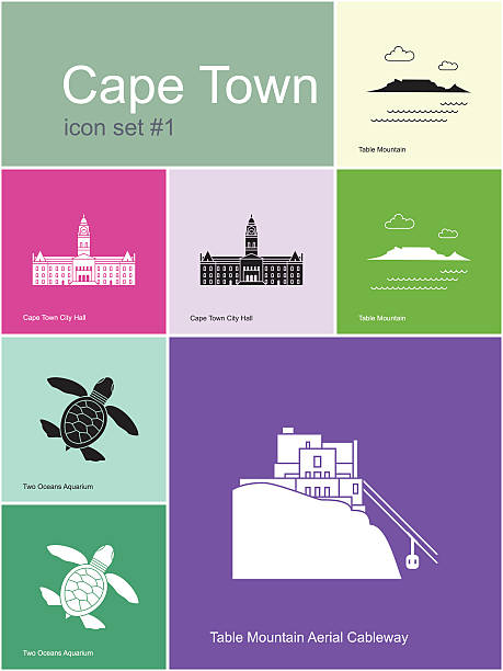 flat illustration icons of cape town landmarks and scenery - table mountain south africa stock illustrations