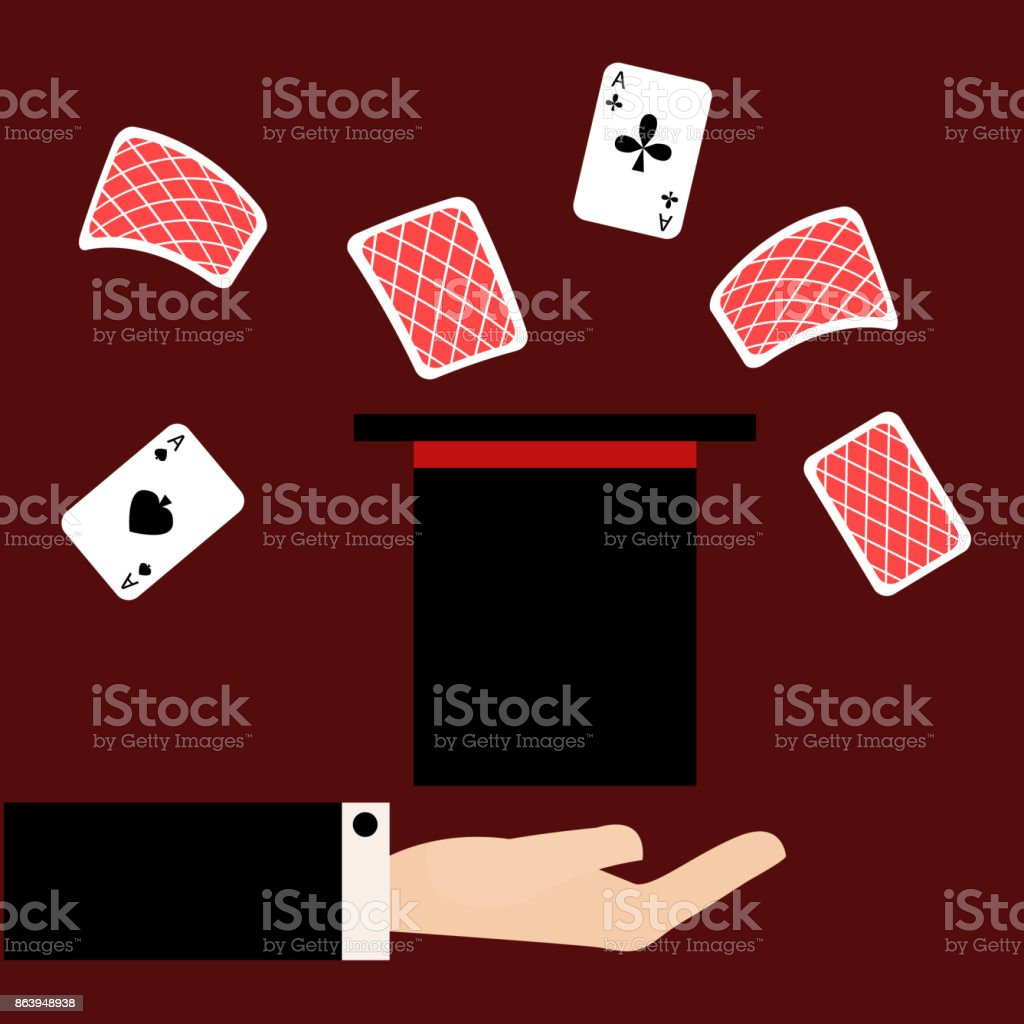 Flat illustration Magician shows the focus of the cards in the hat vector art illustration
