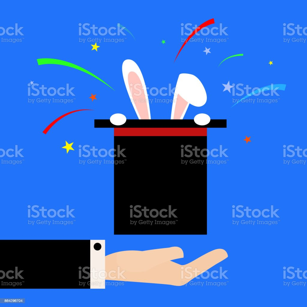 Flat illustration Magician shows the focus of the rabbit in the hat royalty-free flat illustration magician shows the focus of the rabbit in the hat stock vector art & more images of abstract