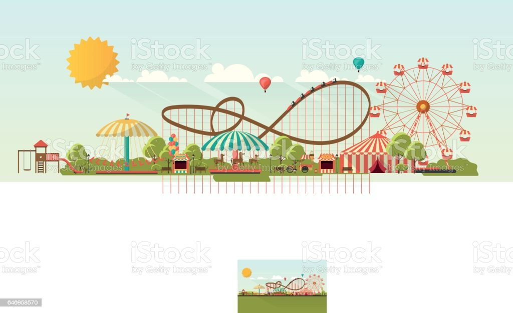 Flat illustration of amusement park at daytime illustration - ilustración de arte vectorial
