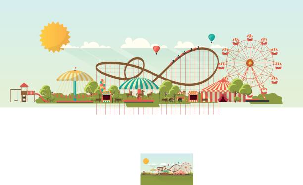 Flat illustration of amusement park at daytime illustration vector art illustration