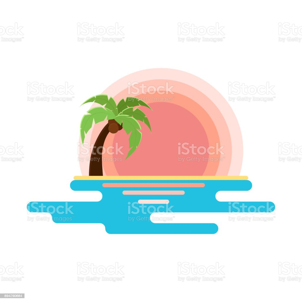Flat illustration of beach with sunset, sea and palm tree. Vector for logo, sites or product design