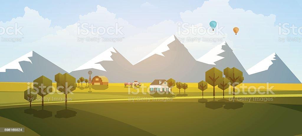 Flat Illustration of countryside, rural landscape, Vector Design. - ilustração de arte em vetor
