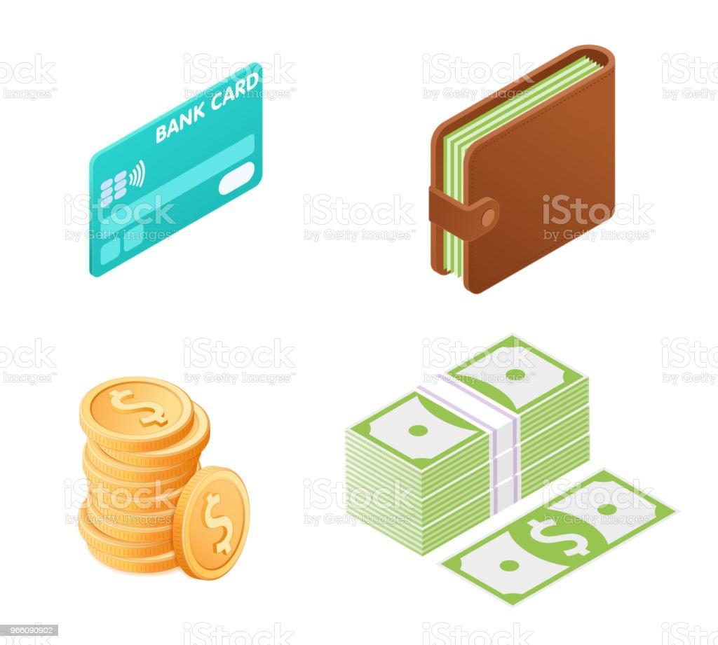 Flat illustration av pengar isometrisk Ikonuppsättning. - Royaltyfri Amerikanska sedlar vektorgrafik