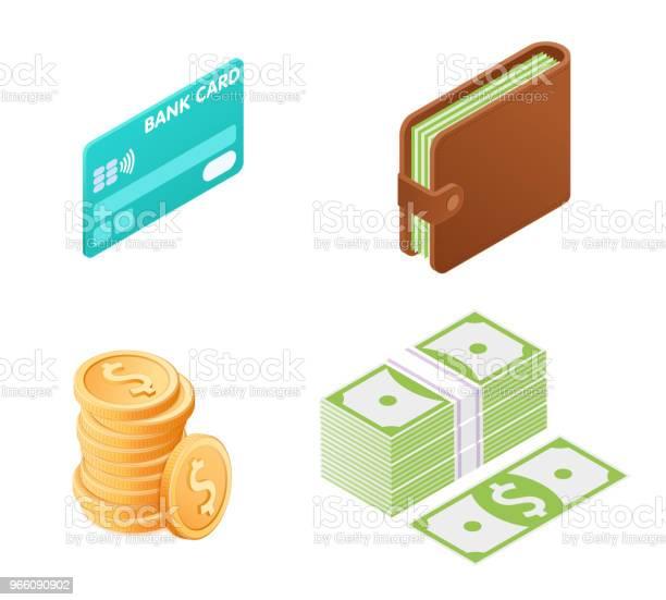Flat Illustration Av Pengar Isometrisk Ikonuppsättning-vektorgrafik och fler bilder på Amerikanska sedlar