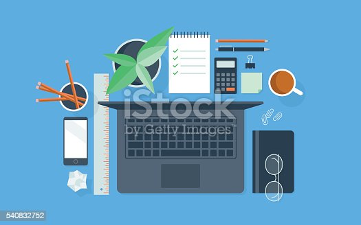 A flat vector illustration of a neatly organized workspace. May be used for a variety of applications, including backgrounds, web banners and graphics, presentations, posters, advertising, and printed materials.
