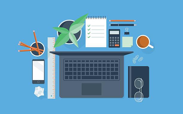 ilustrações, clipart, desenhos animados e ícones de tv ilustração de bem organizados área de trabalho - carteira