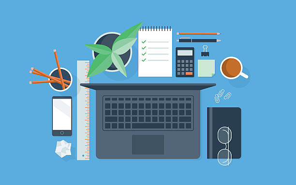 bildbanksillustrationer, clip art samt tecknat material och ikoner med flat illustration of neatly organized workspace - bord