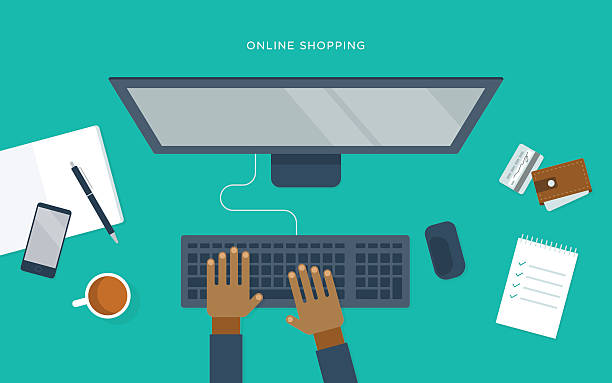 Flat illustration of person at desk with computer, online shopping vector art illustration