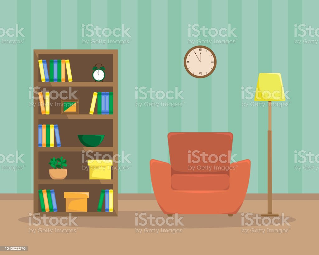 Flat Illustration Of Reading Room With An Armchair Bookcase And Floor Lamp Stock Illustration Download Image Now Istock