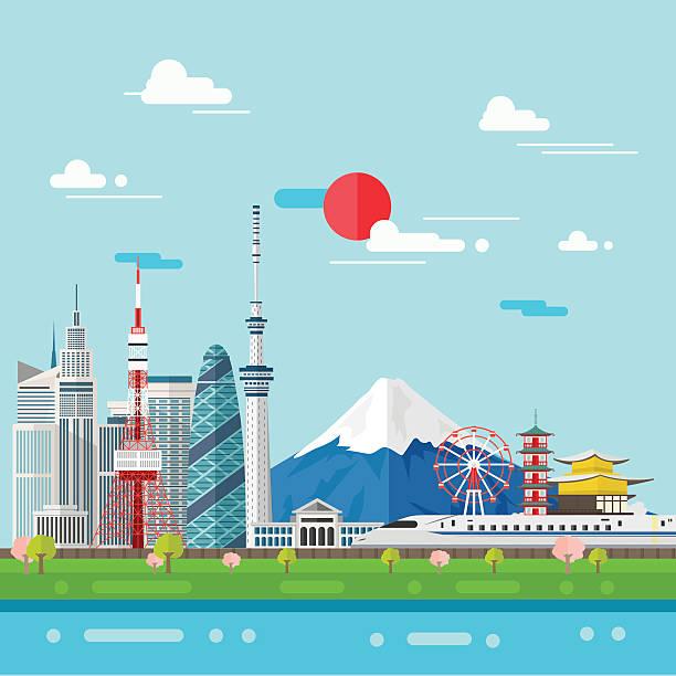 flat illustration of tokyo city in japan.japan landmarks famous - tokyo stock illustrations, clip art, cartoons, & icons