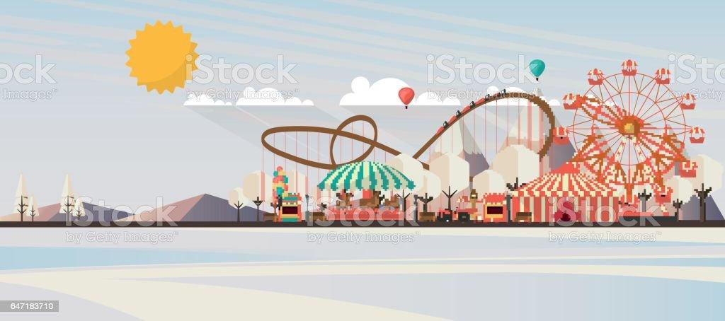 Flat illustration of winter landscape, Vector Design, vector art illustration