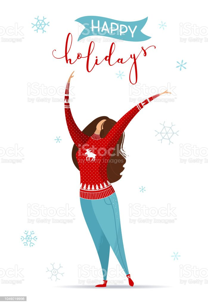 Witte Kersttrui.Platte Illustratie Van De Vrouw In De Jeans En De Rode Kerst Trui Op