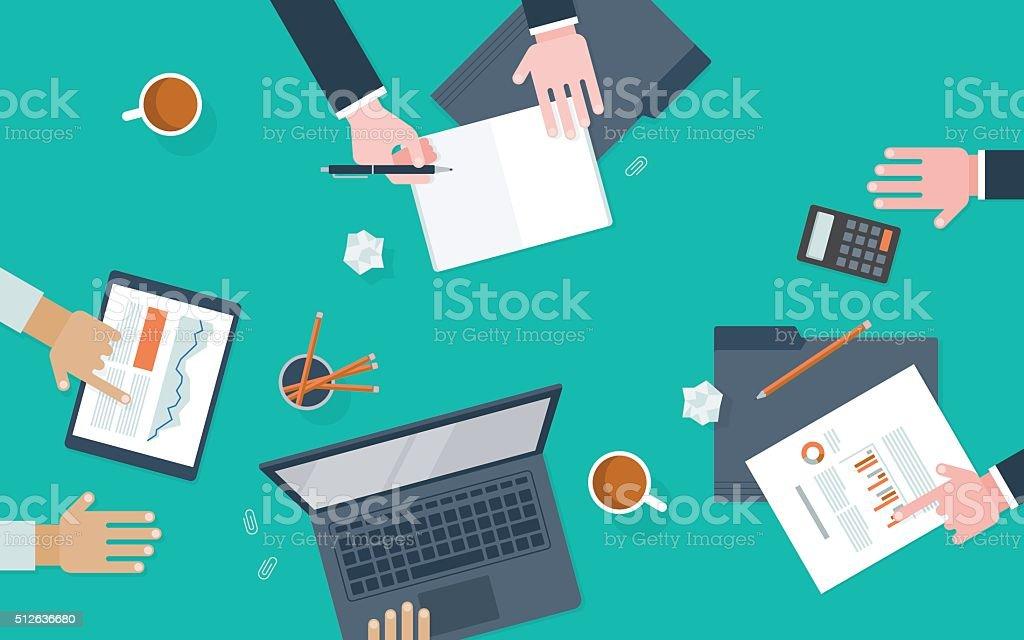 Flat illustration of workers collaborating at desk vector art illustration