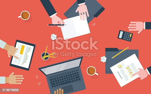 istock Flat illustration of workers collaborating at desk 513676658
