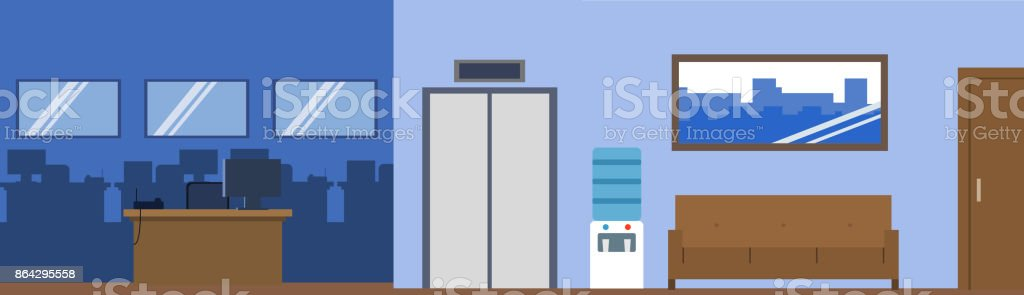 Flat illustration office interior with furniture reception workplace royalty-free flat illustration office interior with furniture reception workplace stock vector art & more images of abstract
