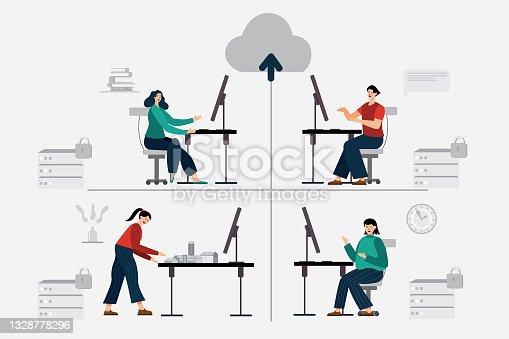 Ilustración plana. Las personas de una organización trabajan a través de equipos en Internet. con un gran sistema de almacenamiento de datos conocido como datos en la nube