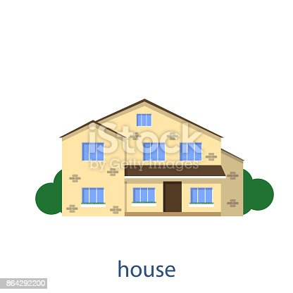 Flat Illustration Vector Design House Front View Stock Vector Art & More Images of Abstract 864292200
