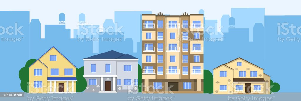 フラットのイラスト ベクター デザイン住宅街正面 アイコンのベクター