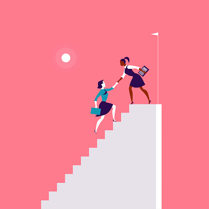 Flat illustration with business ladies climbing on top of white stairs together on red background.