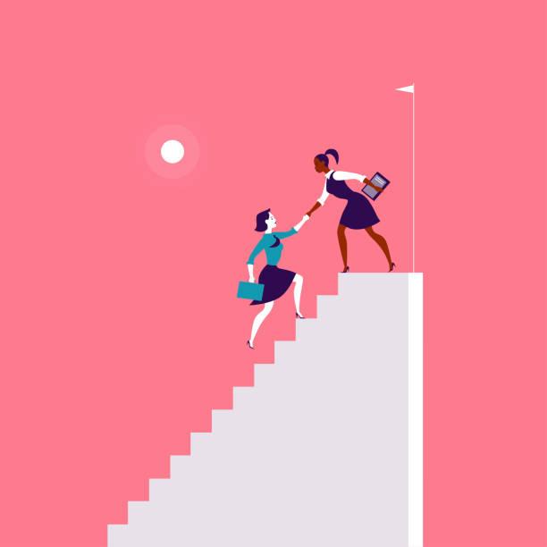 flache illustration mit business-damen klettern auf weißen treppen zusammen auf rotem hintergrund. - treppe stock-grafiken, -clipart, -cartoons und -symbole