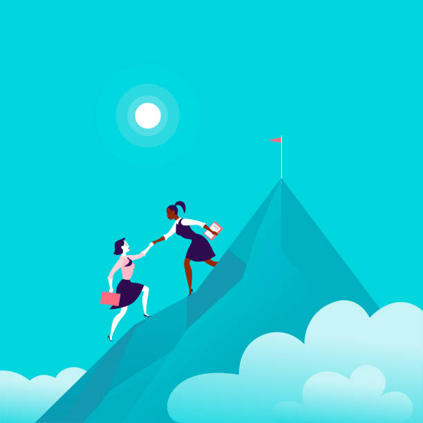 stockillustraties, clipart, cartoons en iconen met platte illustratie met business dames klimmen samen op bergtop top op blauw bewolkt hemel achtergrond. - leader
