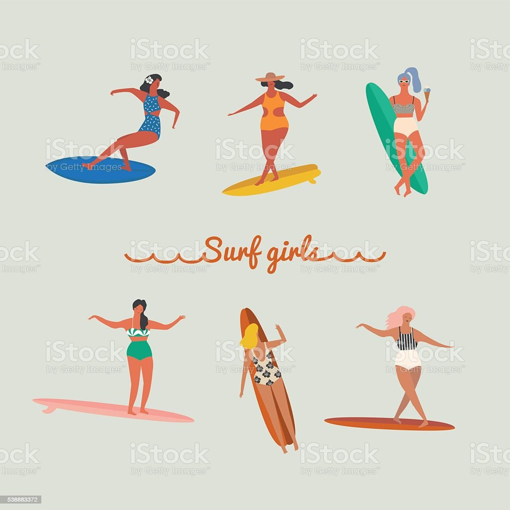 Beautiful Young Surfer Girl Standing On The Beach Between The.. Royalty Free  Cliparts, Vectors, And Stock Illustration. Image 13552800.