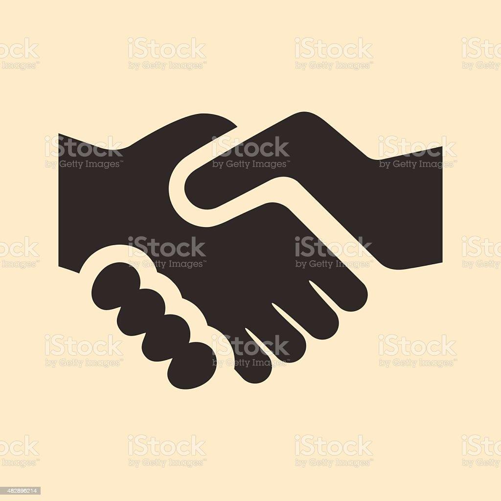 Flat in black and white mobile application handshake vector art illustration