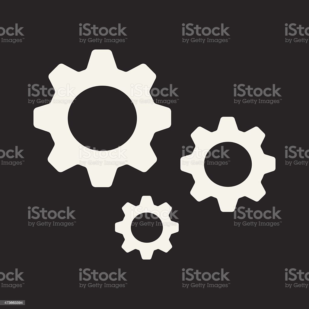 Flat in black and white mobile application settings vector art illustration