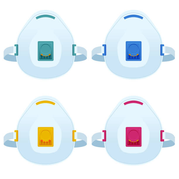 ilustrações de stock, clip art, desenhos animados e ícones de flat industrial safety n95 medical respirator or mask illustrations isolated on white. safety breathing masks. - ffp2