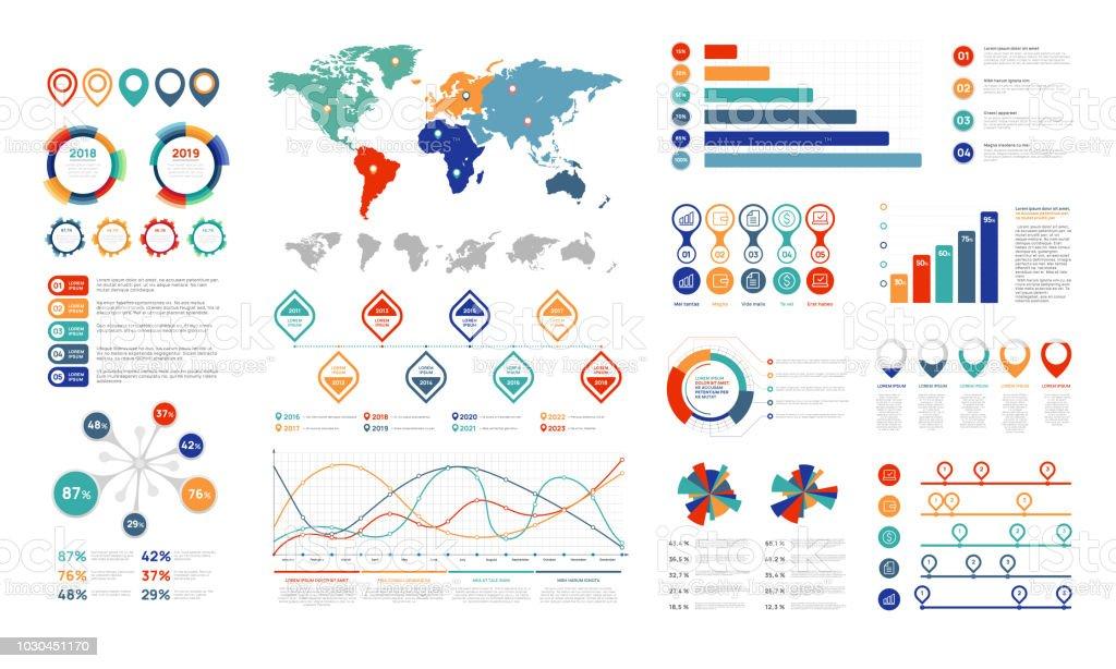 Flache Infografik Elemente. Präsentationselement Diagramm, Diagramm Prozent Banner und Infograph Flussdiagramm. Charts für Infografiken Vektor-set – Vektorgrafik